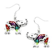 Multi-Color Elephant Fashionable Earrings - Fish Hook - Silver Plated