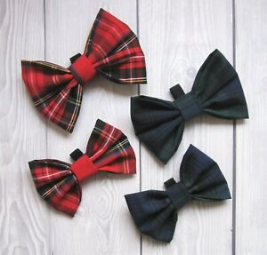 Dog Bow Tie Tartan Slide On Collar Cute Novelty Red or Green & Navy Puppy Pet