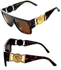 424 Medusa Gold Metal Logo Coin Flat Top Sunglasses Metal Retro Brown Hip Hop