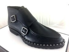 Nib $650 Dsquared2 Men's US 6 EU 39 Leather Black Buckle Up Boots Studded Ankle