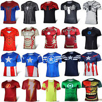 Men's Short Sleeve T-Shirts Marvel Superhero Compression Sport Gym Casual Tops