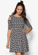 Henry Holland Cold Shoulder Cat Print Dress Size UK 8 Lf180 LL 03