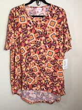 930 NWT LuLaRoe IRMA TUNIC Shirt S SMALL TOP Orange Pink Purple Quilted Stitch