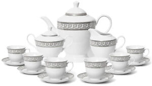 Royalty Porcelain 17-pc Elegant Silver Greek Key Tea Set for 6, Czech Porcelain