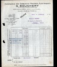 """PARIS (X°) CABLES & MATERIEL ELECTRIQUES """"G. BOUCHERY"""" en 1930"""