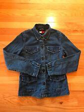 Women's Tommy Hilfiger Jeans Denim Button Up Jacket Size Large Dark Blue