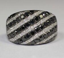 14k White Gold 33 White Diamond And 46 Black Diamond 2.53ct Elegant Ring Size 7