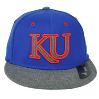 NCAA Adidas Kansas Jayhawks M858Z Structured Hat Cap Flex Fit Small Medium Blue