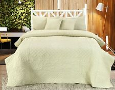 Handmade Cotton Quilted Bedspread Set Quilt Bed Set Chloe Sea Green