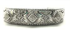 Sterling Silver Elegant Diamond Rhombus Matte Swirl Dotted Cuff Bangle Bracelet