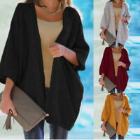 Fashion Womens Casual Oversize Cardigans Tops Loose Knitwear Warm Sweater Coats