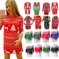 Women Winter Knitted Jumper Christmas Sweater Pullover Knitwear Xmas Tops Dress