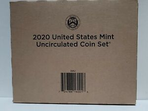 2020 US Mint Uncirculated Coin Set, 20 Brilliant Coins, Sealed Unopened Box 20RJ