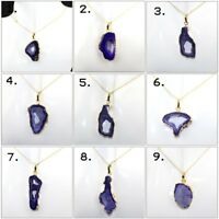 Designer Blue Natural Geode Druzy 24k Gold Plated Pendant Necklace Jewelry