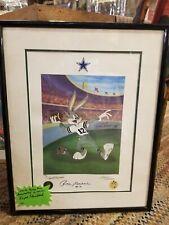 Dallas Cowboys Roger Staubach Drew Pearson Signed auto Bugs Bunny Picture RARE