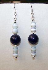 Handmade DARK BLUE STONE & PALE BLUE CAT'S EYE GLASS BEAD DROP DANGLE EARRINGS