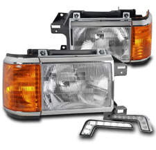 FOR 1987-1991 FORD BRONCO F150 F250 F350 PICKUP HEADLIGHTS LAMP W/LED SIGNAL DRL