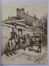 La maréchaussée dessin ancien.Police gendarmerie cheval Policier Polizist cop