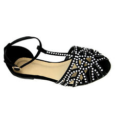 Womens Strappy Gladiator  Closed toe Cutout Flat Sandals With Rhinestones #2810