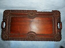 Antique Hand Carved Flowers Wooden/Wood Tray