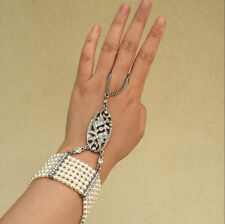 Elegant Crystal Multi Row White Pearl Cuff Ring Bracelet Slave Chain