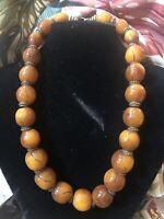 """Yemeni Moroccan Amber Bead Necklace 22"""""""