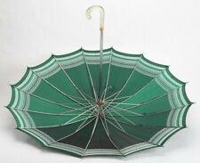 "36"" Vintage Umbrella Parasol Metal and Plastic Handle Antique Green"