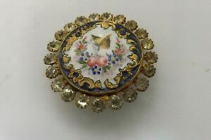 RARE ANTIQUE FRENCH ENAMEL AND PASTE BUTTON GOOD CONDITION 3CMS (3394)