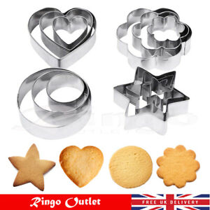 12pc Stainless Steel Xmas Cookie Shape Heart Star Flower Cutters Food Set UK