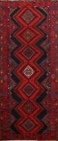 Vintage Traditional Hamedan Geometric Handmade Runner Rug Tribal Oriental 4'x10'