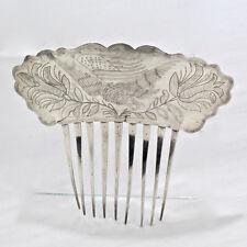 19th C American Coin Silver Hair Comb Engraved w Eagle Flag Tulips - Folk Art SL