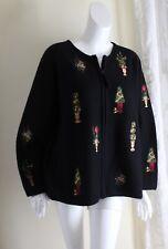 Susan Bristol -Sz 3X Black Boiled Tree Holiday Wool Luxurious Round Neck Jacket