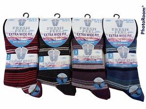 6 PAIRS MENS NON ELASTIC DIABETIC COTTON EASY GRIP STRIPPED SOCKS Uk Size 6-11