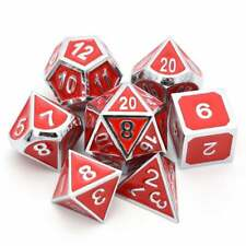 Silver Dice Set with Red Enamel Metal with Drawstring Pouch for RPG DnD games