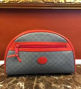 VTG GUCCI GREY GG SUPREME CANVAS HIBISCUS RED LEATHER COSMETIC POUCH BAG ITALY