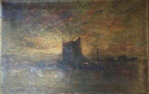 Old Impressionist Oil Painting Harbor at Night Sunset Signed Listed Artist ?
