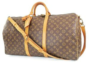 Auth LOUIS VUITTON Keepall Bandouliere 55 Monogram Canvas Duffel Bag #38050