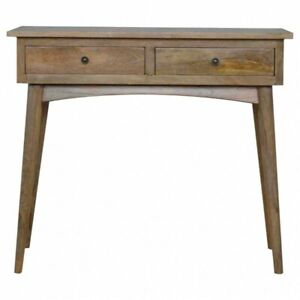 Solid Wood 2 Drawer Hallway Console Dressing Table Handmade Oak Furniture