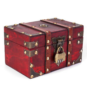 Wooden Storage Box Retro Treasure Chest With Lock Vintage Gift Jewelry Organizer