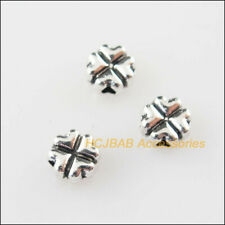 80Pcs Tibetan Silver Tone Heart Clover Spacer Beads Charms 5mm