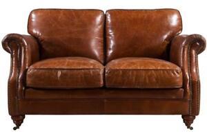 Luxury Distressed Vintage Tan Leather Handmade Sofa 2 Seater Settee Retro