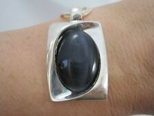 """Signed KC Silvertone & Dark Blue Moonglow Necklace 19"""""""