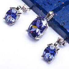 "BEAUTIFUL TANZANITE .925 Sterling Silver Pendant & Earrings Set.5"""