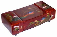 1940s Japanese Lacquer Wood Box Red Jewelry Music Box Velvet Lined 16 inch