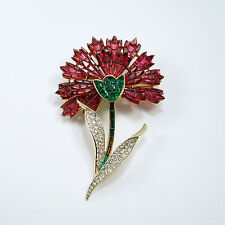 Vintage Crown Trifari Alfred Philippe Pave Invisibly Set Carnation Flower Pin
