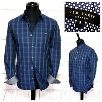 "🌟 Mens TED BAKER Thepane Premium LS blue check shirt size 3 medium 38"" p2p 20"""