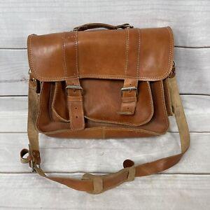 Vintage Brown Saddle Leather Briefcase  /  Messenger Bag - Made In Greece