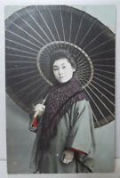 Antique POSTCARD Japan Geisha Girl Umbrella PRE WAR Hand Tinted Photo Vintage
