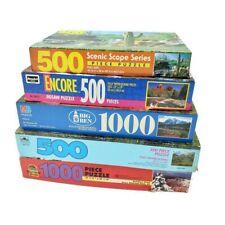 Vintage Jigsaw Puzzle Landscape Lot 1990's Big Ben & More 500 to 1000 Pieces