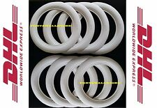 "14""X3"" WIDE WHITE WALL PORTAWALL TYRE TRIM SET 8 PCS MERCEDES BMW"